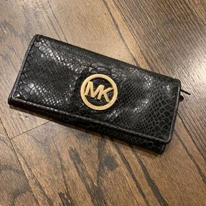 MK Snakeskin Leather Wallet